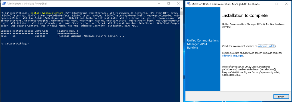 command to install exchange server 2016