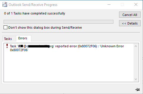 Outlook error 0X80072f06