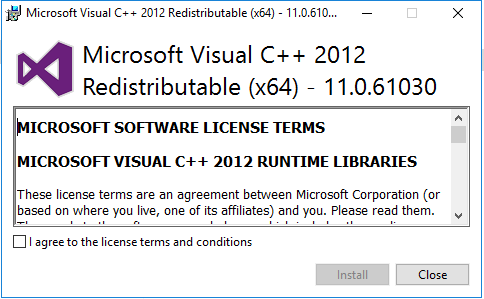 Install Exchange Server 2019 Microsoft Visual c++ 2012 Redistributable 11.0.61030