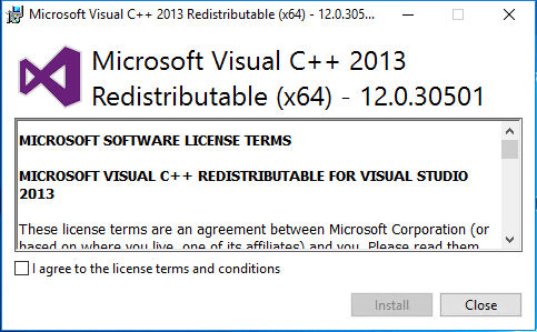 Install Exchange Server 2019 Microsoft Visual c++ 2013 Redistributable 12.0.30501