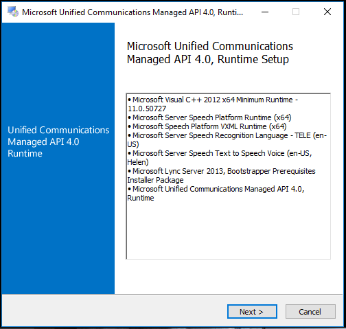 Install Exchange Server 2019 Microsoft Unified Communications Managed API 4.0, Runtime Setup